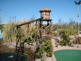 Pirates Golf scenery, water tower and golf green